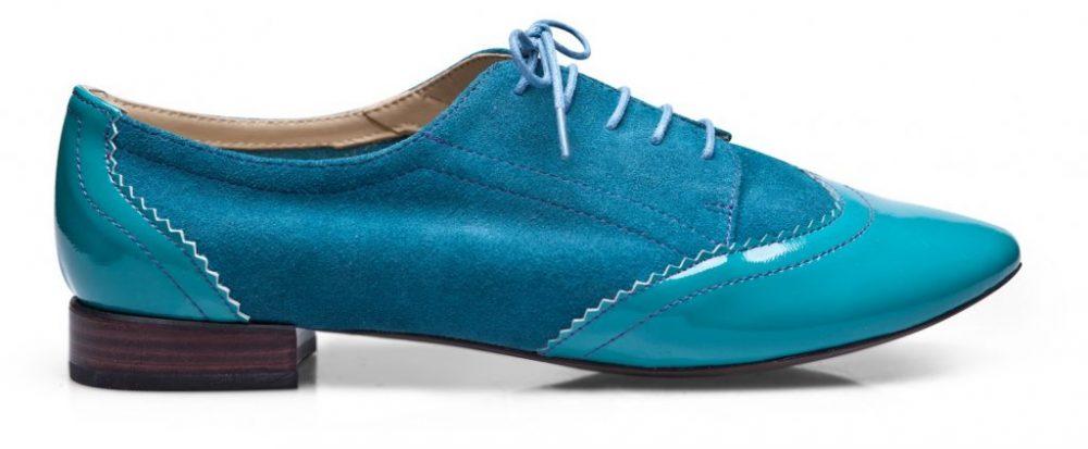 derby sur mesure bleu turquoise bicolore