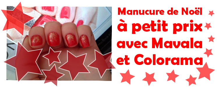 manucure de Noël vernis rouge mavala french cancan et colorama paillettes or