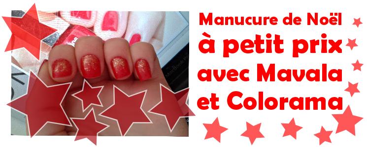 manucure de Noël vernis rouge mavala french cancan et colorama paillettes or