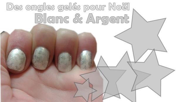 Des ongles gelés blanc nacrés et argent miroir en stamping konad sephora pour noel