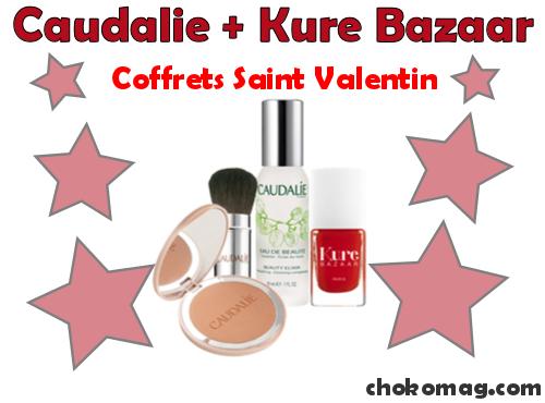 coffret special saint valentin produits de beauté caudalie et vernis kure bazaar