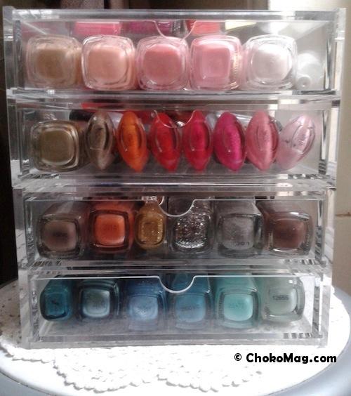 vernithèque muji acrylique remplie de vernis à ongles