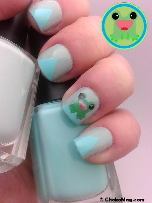 nail art kawaii grenouille mint