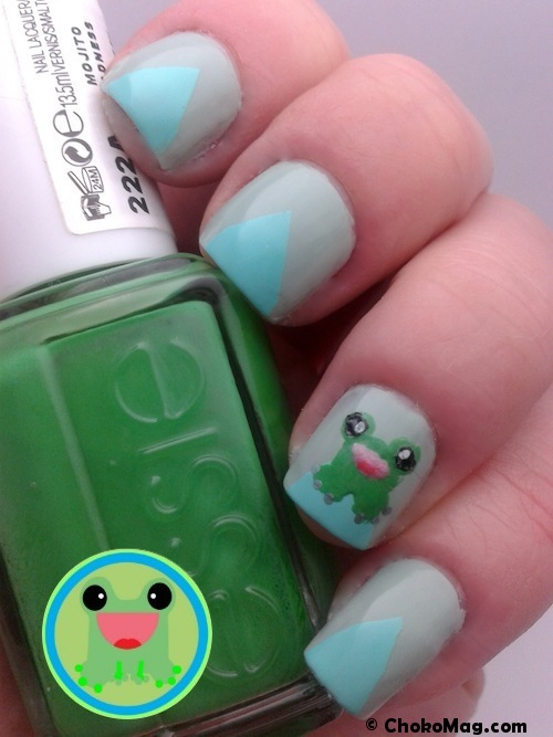 nail art frog mint turquoise