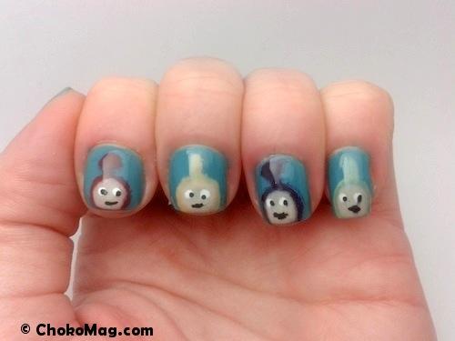 nail art teletubbies tinky winky dipsy laa-laa et po