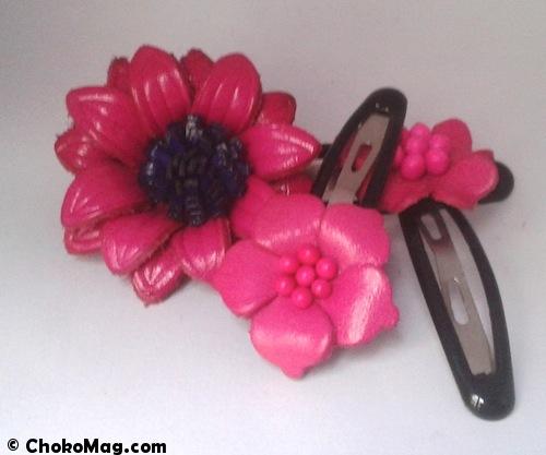 barrettes en cuir rose accessoires cheveux chics
