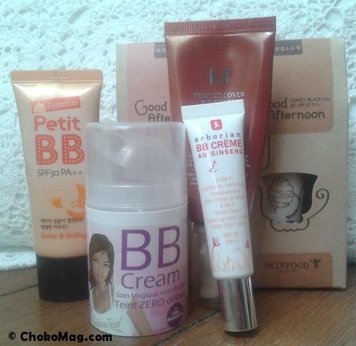 collection bb crème françaises et asiatiques petit bb, erborian, missha, skinfood et aquateal