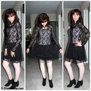 look glamrock robe dentelle noire etam