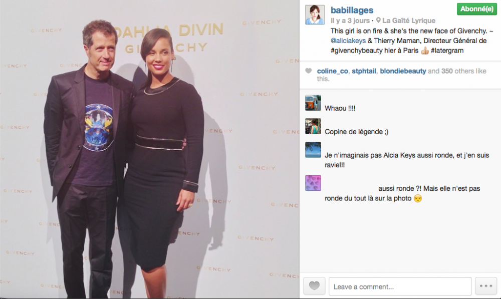 instagram babillages alicia keys ronde