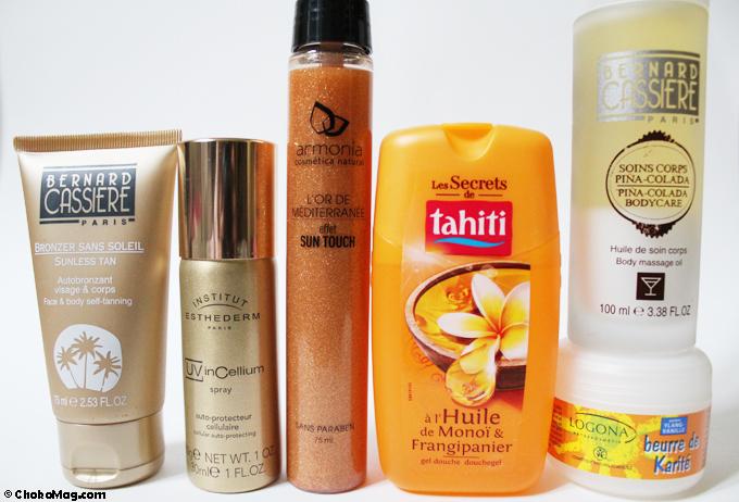 produits de beauté pour l'été et préparer l'exposition au soleil