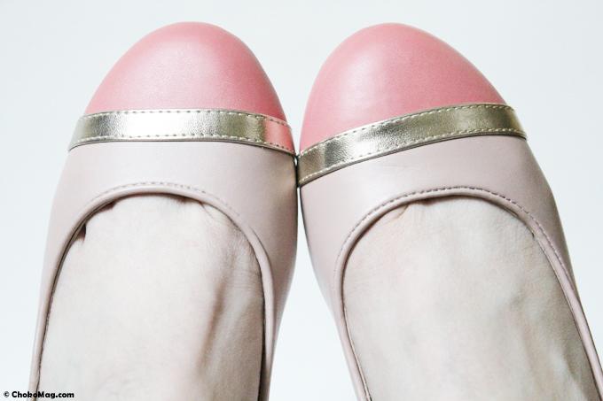 ballerines talons décroché de 2,5cm confortables rose et or de chez balsamik