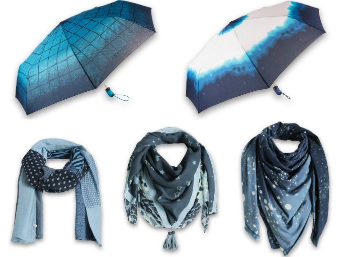 foulards et parapluies bleus esprit