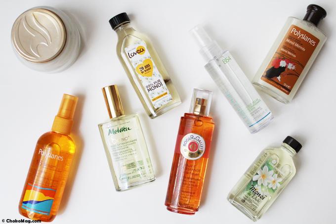 huiles de beauté naturelles, monoi, et huile de beauté en spray