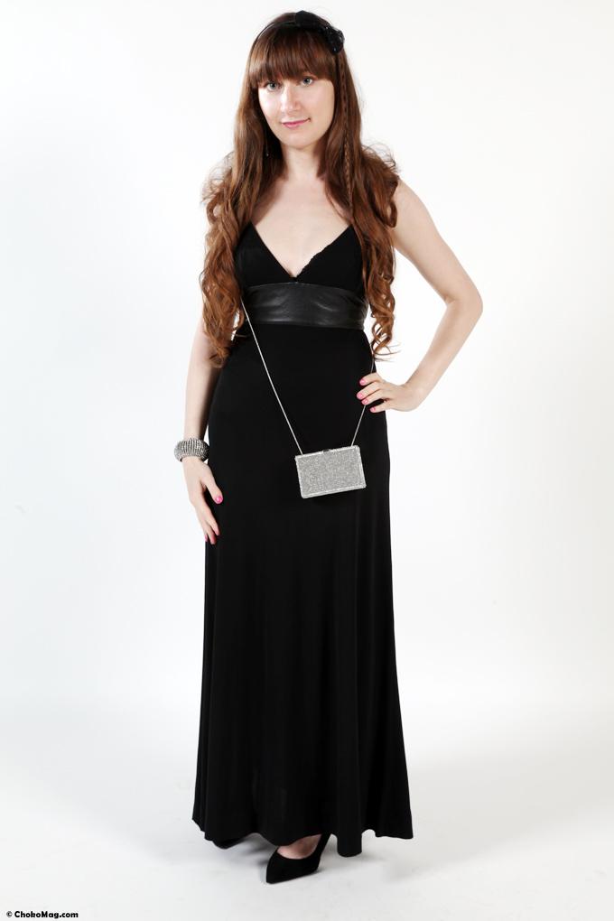 robe longue du soir Saint laurent paris et sac Swarovski relooking chic
