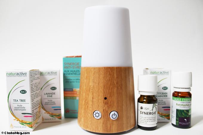 diffuseur en bois petit modèle et huiles essentielles naturactive florame et docteur valnet