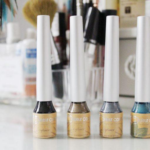 eyeliner bio couleur caramel noir gris bronze et bleu