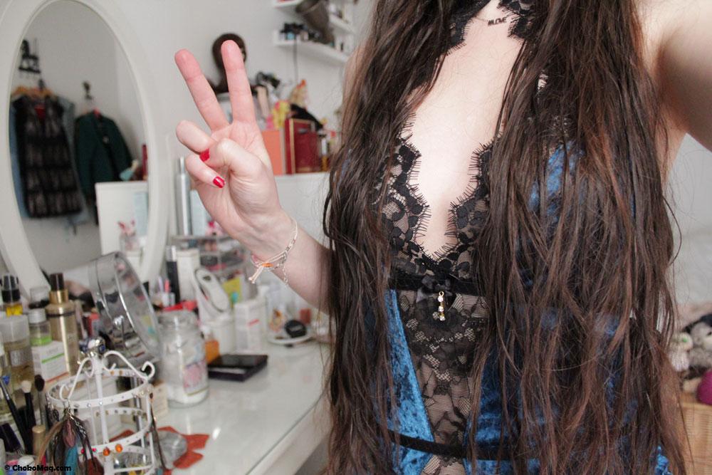 body bleu velours