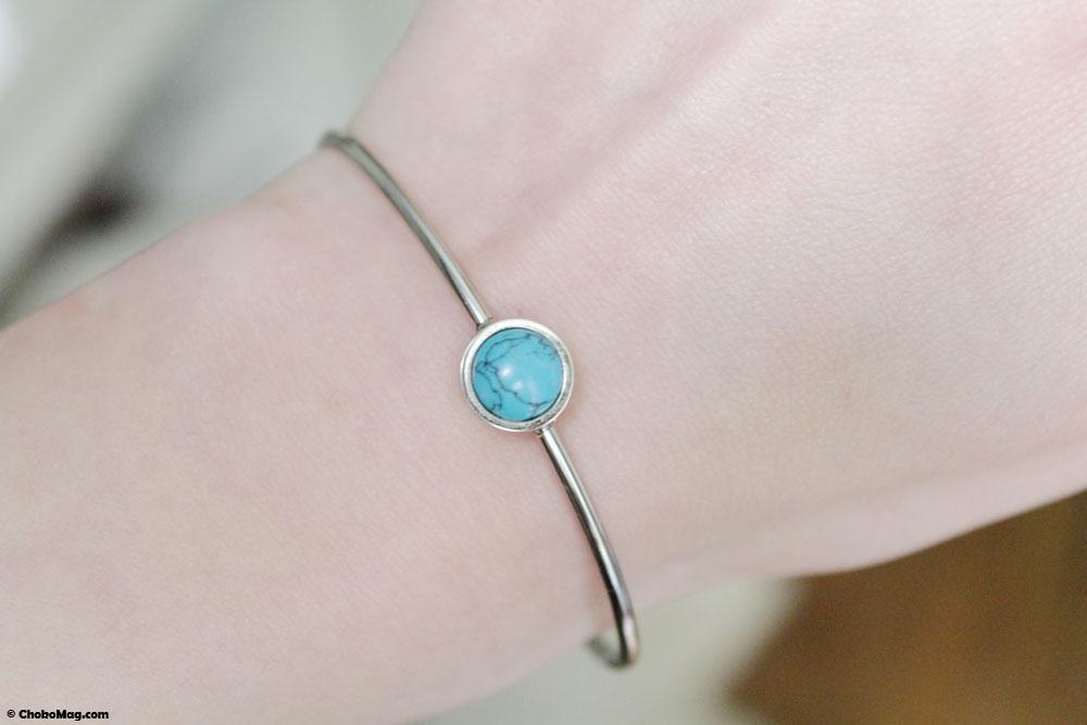 Bracelet jonc argent et turquoise Cleor